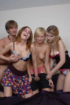 PICTURE SET: Lucky Dude With Three Women