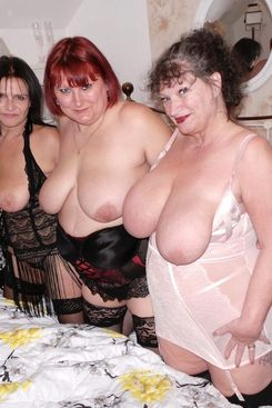 PICTURE SET: Three matures showing ample boobs