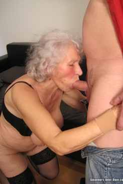 PICTURE SET: Granny in stockings with a younger man