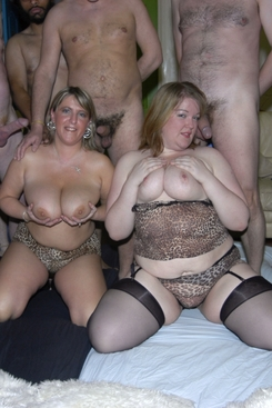 PICTURE SET: Busty and chubby duo get creamed and a group sex party
