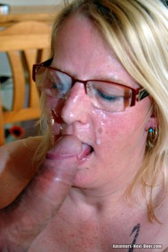 PICTURE SET: Older wife takes a cumhot over face and glasses