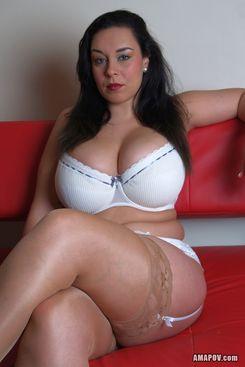 PICTURE SET: Busty MILF in white underwear sucks a cock