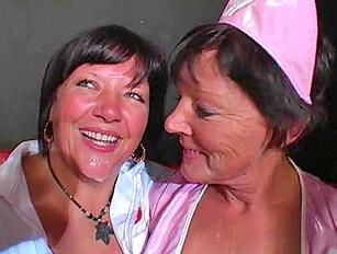 Mature Cocksuckers Dressed as Nurses Eat Cum