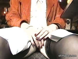 Flashing her panties in a bar