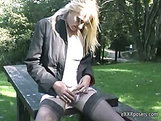 Playing on the park bench
