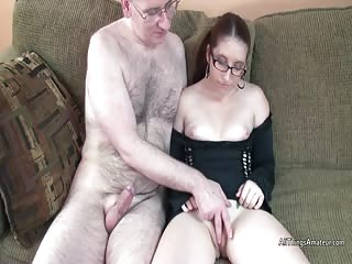 Gianna blows older cock in her short, tight dress
