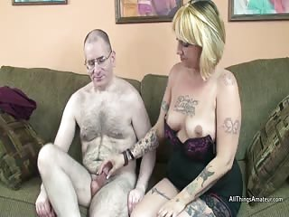 Tattooed amateur older blonde sucks off a guy at audition