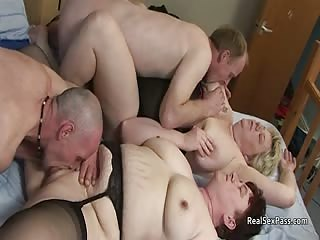 Overweight mature amateur British swinger foursome