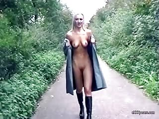Naked under her coat and flashes