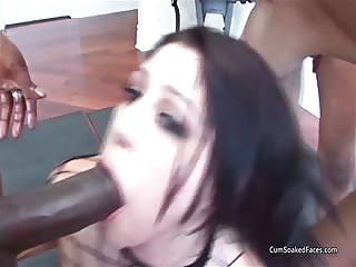 White brunette feels the power of 3 big black cocks