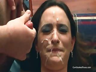 Multiple heavy facials for amateur brunette
