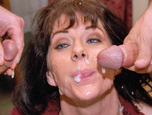 Busty MILF amateur gets a heavily creamed face from many guys