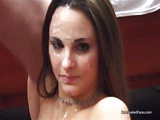 A bunch of amateur guys glaze Nevaeh's face with cum