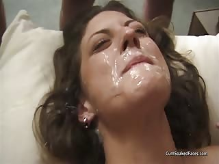 Taylor lays back and accepts all the cum shots over her face