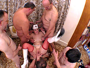Older guys anal fuck and cum on a blonde and redheads face