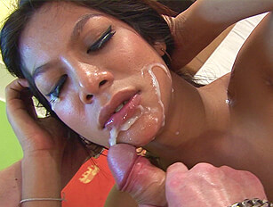 A guy sucks and fucks ladyboy Vita and cums over her face