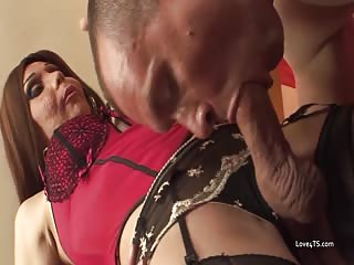 Shemale in fishnet stockings fucks her handyman