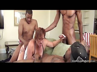 Amateur redhead pounded and DP'd by three black big cock studs