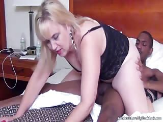 Chubby pale blonde in lingerie and heels fucks a black cock
