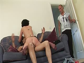 Skinny housewife gets double penetrated on the sofa
