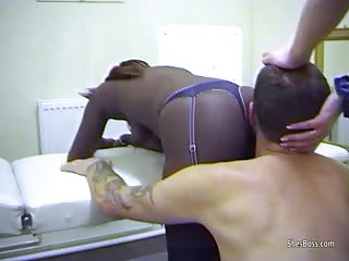 Slave tastes black and white pussy and ass