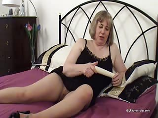 Older gal Trisha wet her panties