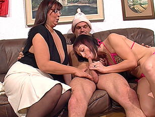 Bigger, older woman joins in the fun