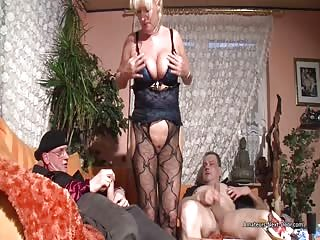 Busty and classy mature fucks with two men