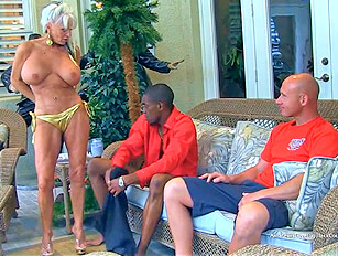 Husband watches his older wife with a black man