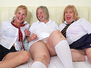 Three naughty mature schoolgirls