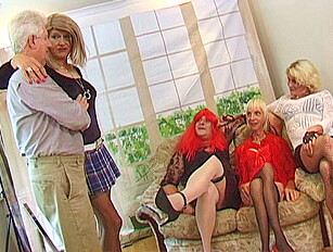 Kinky crossdresser mature group sex