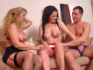Teens threesome with an older woman