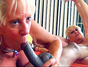 Two blonde Grannies share a big black cock