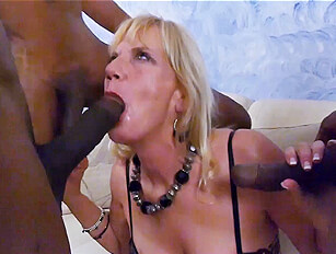 Mature thin blonde gets her way with 3 big black cocks