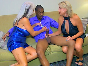 Older and younger blonde share black cock