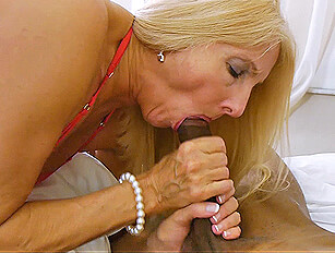 Leggy mature blonde gets cummed pussy from BBC