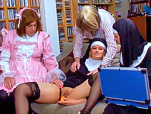 Younger female toyed by old crossdressers and a mature woman
