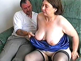 Old wife with hairy pussy gets played with from hubby