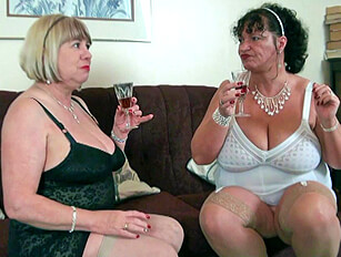Mature big boobed British gals playing with sex toys