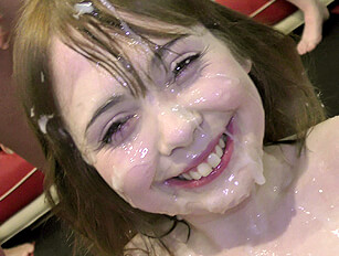 Petite Cherry English gets a huge face creaming