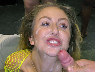 She jolts and jumps at almost every cumshot thats blasted into her face