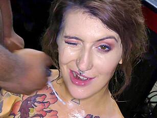 Pixie Peach taking the facials with fluffer Queenie B
