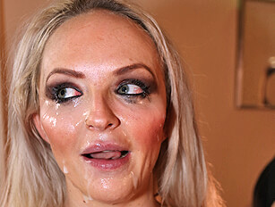 Blond cocksucker Louise Lee takes a face creaming
