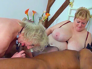 Two old women cum swap after sex with a black man