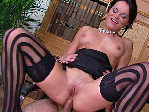 Brunette squats over cock and takes it up her arsehole