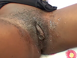 Black amateur toys before a fuck over the desk