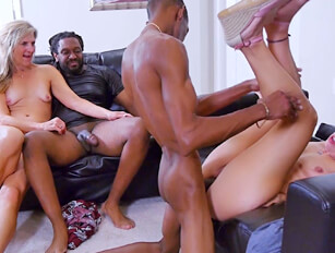 Older redhead and blondes foursome with 2 black guys