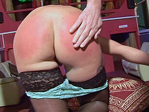 Three guys spank older blonde Frankie