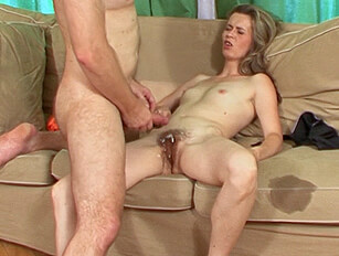 Moaning thin wife takes cum over her hairy pussy