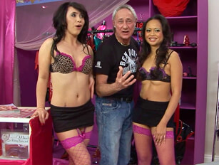 Two brunettes in a foursome with Ben Dover